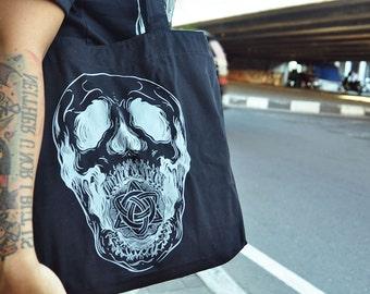 Screaming Skull black tote bag for Halloween