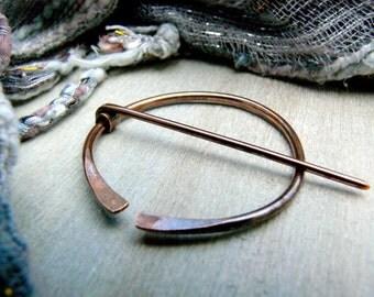 Antiqued Copper Penannular Brooch, Viking Pin, Celtic Pin, Cloak Pin, Anglo Saxon, Shawl Pin, Kilt Pin, Celtic Brooch, Viking Brooch, M