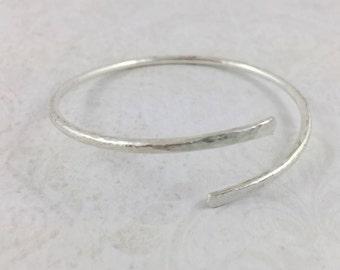 Sterling Silver Overlap Cuff Bracelet, Adjustable Bangle