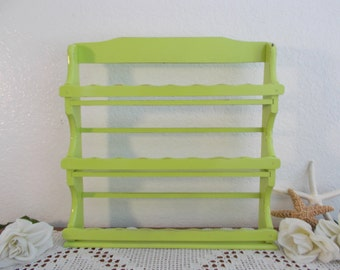 Lime Green Spice Rack Upcycled Vintage 3-Tier Wood Wall Shelf Storage Organizer Shabby Chic Beach Cottage Tropical Island Kitchen Home Decor