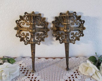 Viintage Gold Black Taper Wall Sconce Candle Holder Set Two Pair Mid Century Hollywood Regency Gothic Home Decor Hanging Ornate Filigree