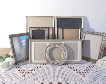Vintage Silver Picture Frame Set Photo Decoration Gallery Collection Mid Century Hollywood Regency Home Decor Rustic Shabby Chic Wedding