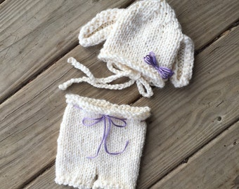 Knitted lamb and diaper set