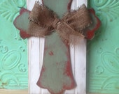 Shabby Chic Cross Door Hanger, Wooden Home Decor Cross, Rustic Cross with Burlap Bow