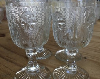 "Set of 4 Small  Iris and Herringbone Wine Glasses 4 1/4"" in height"