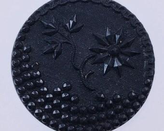 Vintage Black Glass Picture Button Flower Theme Fancy Black Glass Faceted Glass Button Antique Button
