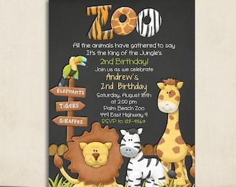 Zoo Chalkboard Birthday Invitation - Jungle Animals - Custom and Printable