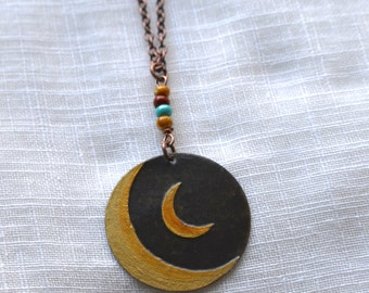 Twin Moon Brass Pendant Necklace//Made to Order Item