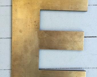 """Large Vintage Brass Industrial Letter: """"E"""""""