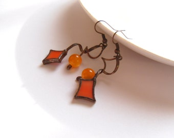 Stained glass earrings, bohemian jewelry, orange beaded earrings, statement jewelry, fashion jewelry, copper wire earrings, Sparkle