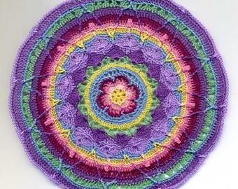 Dollhouse Miniature Round Mandala Afghan, Throw - Pastel Colours
