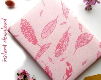 Wrapping Paper PRINTABLE - Handdrawn Feathers || Instant Download Feathers Wrap
