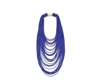 scarf necklace, textile necklace, purple textile necklace , strands necklace, textile jewelry, multistrand necklace, jersey necklace, boho