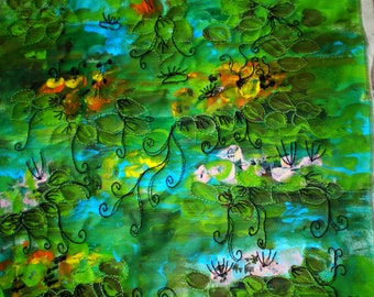 Waterlillies, inspired by Monet, landscape fiber art, mixed media art quilt