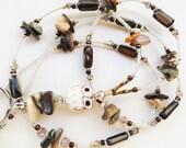 BEACH OWL- Beaded ID Lanyard- Porcelain Owl, Mother of Pearl Shell Beads, and Sparkling Crystals (Magnetic Clasp)