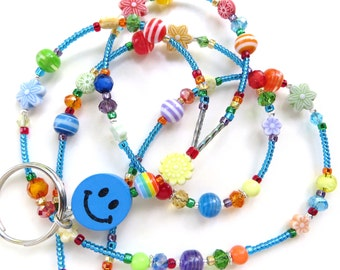 HAPPINESS- Beaded ID Lanyard Badge Holder- Wood Beads, Resin Beads, Matte Beads, and Sparkling Crystals (Magnetic Clasp)