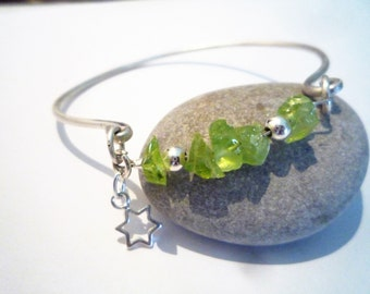 Sterling Silver cuff bracelet, Peridot and silver, August birthstone, Green Peridot and silver bracelet, Star charm