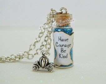 Cinderella Necklace, Have Courage Be Kind Bottle Necklace Pumpkin Carriage Charm, Disney Bound Cosplay, Disney Jewelry, Cinderella Cosplay