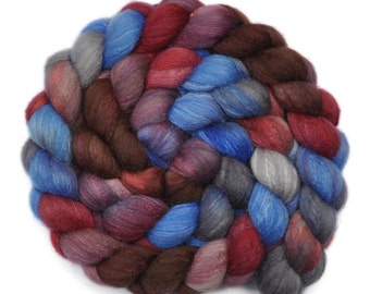 Handpainted roving - Silk / Polwarth 15/85% wool roving - 4.1 ounces - Haunted Manse