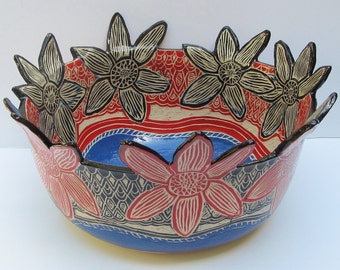 large ceramic serving bowl; ceramics and pottery bowl; hand carved pottery; sgraffito pottery; ceramic flower bowl