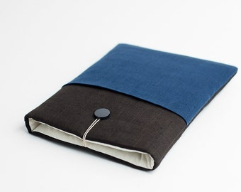 Macbook Air 11 case, Macbook 11 inch sleeve, brown, with blue pocket, minimalist