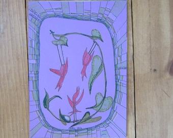 Three Birds #1 Original Drawing, Mixed Drawing Materials, Bob Marley, Positive, Upbeat, Do Not Worry