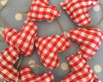 Red gingham cotton fabric mini heart garland, bunting,wedding,home decor,