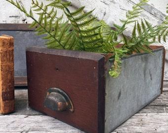 Antique Wooden and Glavanized Hardware Store Drawer / Bin - Bin Pull Handle