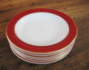 """6 Pyrex Royal Burgundy 6.5"""" Side Dish Bread Plate  22K Gold Trim  1954  White Opal Glass"""