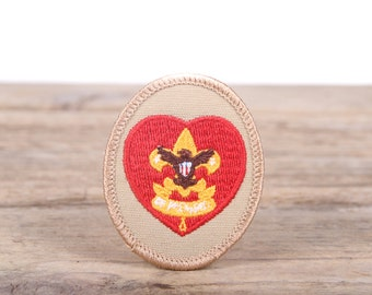 Vintage Scout Patches / Beige Be Prepared Eagle Scout Rank Patch / Grunge Patches / Punk Patches / Red Heart Scout Patch / Retro Patch