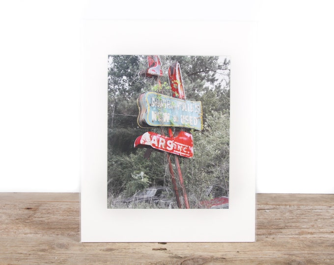 Featured listing image: Original Fine Art Photography / Abandoned Car Lot / Garage Decor / Car Gift / Signed Photography / Photography Prints / Color Photography