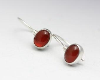Red Onyx Earrings, Sterling Drops, Red Drop Earrings, Minimalist, Delicate, Gemstone Earrings
