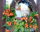 MRS. BUNNY in a CARROT Patch Easter Wreath