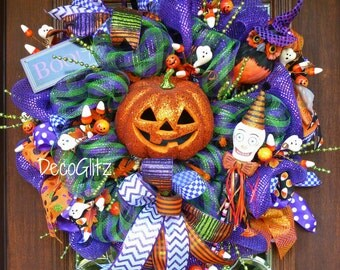HAPPY Halloween JACK-0-LANTERN Wreath with Lights