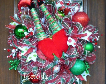 WHIMSICAL ELF BUTT Christmas Wreath with Sparkly Elf Legs and Elf Shoes