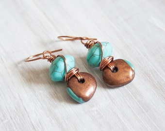 SALE Enameled Copper and Turquoise Wire Wrapped Earrings Boho Jewelry Trendy Turquoise Howlite