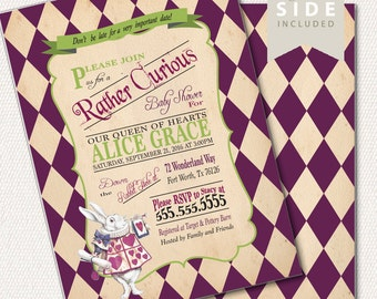 Alice in Wonderland Invitation / Printable Baby Shower / Mad Hatter Tea Party / Baby Girl / Boy / Gender Neutral - Vintage Purple