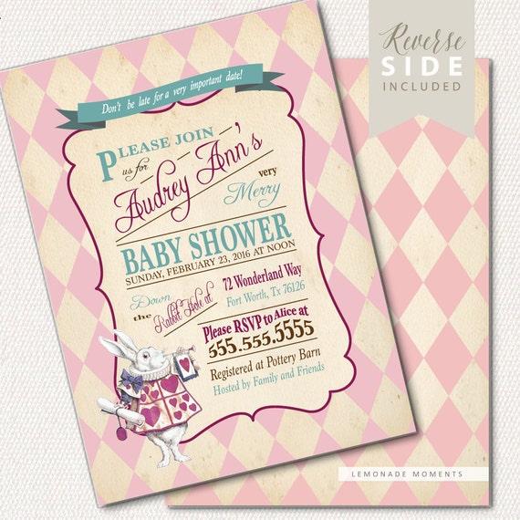 Alice in Wonderland Invitation / Baby Shower / Mad Hatter Tea Party - Printable Invitation - Vintage Pink