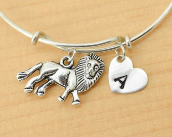 Lion Bangle, Sterling Silver Bangle, Lion Bracelet, Bridesmaid Gift, Personalized Bracelet, Charm Bangle, Monogram, Initial Bracelet