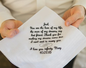 Wedding Handkerchief Gift Embroidered from the Bride to her Groom