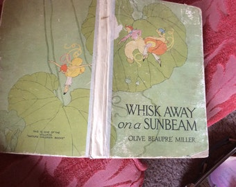 VINTAGE CHILD BOOK antique story book, Whisk Away on a Sunbeam, 1919, awesome illustrations, collectible book, art, Volland Co children
