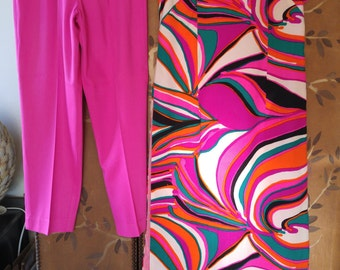 70s Psychedelic swirl duster dress and trouser set by Phil Rose of California 'Fun Collection'