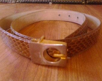 80s genuine snakeskin skinny belt