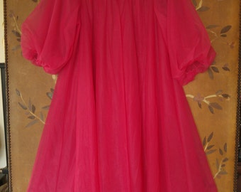 60s sheer chiffon hot pink night gown by Van Raalte