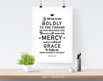 Hebrews 4:16. NLT. Throne of Grace. Printable DIY Christian Poster. Scripture.Bible Verse.