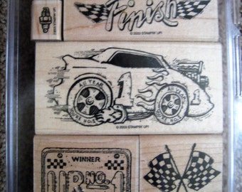 Stampin Up Stamp Set - To the Finish - Retired - Rare - Race Car - Checkered Flag - Wood Mounted