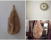 Hemp Hanging Basket, Rustic Slouchy Crochet Wall Basket, Earthy Primitive Storage, Hallway Wall Decor Doorknob Stretchy Catchall Tote Basket