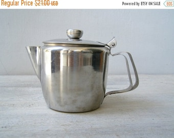 70s Stainless Steel Teapot Pitcher for Two, Metal Tea Coffee serving Pot, Retro Modern Cafe Tableware Brunch Breakfast Utensils, Mid century