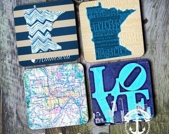 Minnesota Coaster Set: Minneapolis Typography Modern Style Cork Back Home Accessories