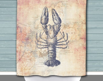 Rockport Shower Curtain: Lobster Rockport Mass Vintage Map | Made in the USA | 12 Hole Fabric Bathroom Decor